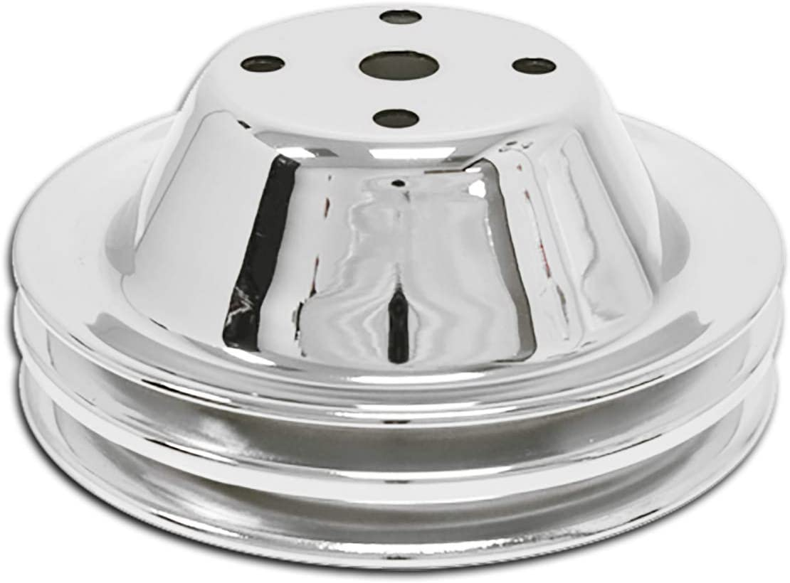 2 Groove Fits 1969-85 Chevy SB Small Block Chrome Steel Water Pump Pulley Long