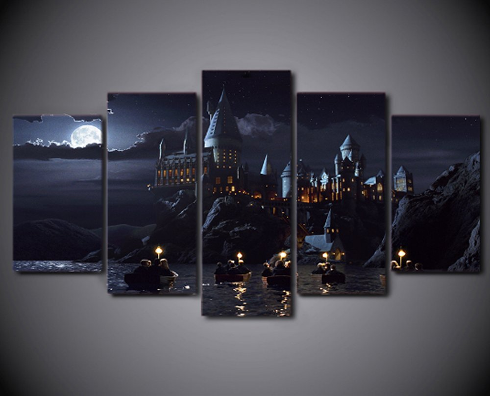 Framed Canvas Print/Painting Harry Potter School Castle Hogwarts Home Office Decor Wall Pictures for Living Room/Office Room (XLarge(4060cm2+4080cm2+40100cm1)) by Epikkanvas