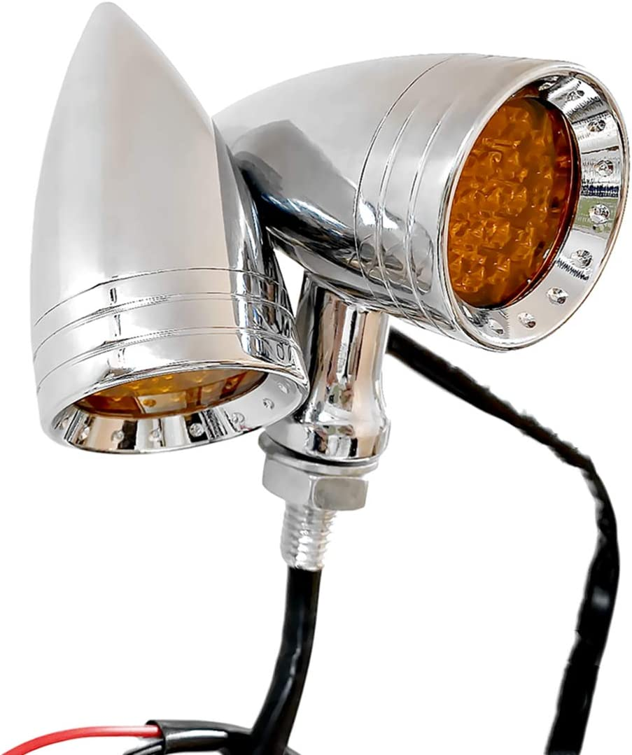 Chrome FATECIM Motorcycle LED Turn Signal Bullet Blinker Indicator Lights Amber Lens 10mm Vintage Chrome For Harley Suzuki Honda
