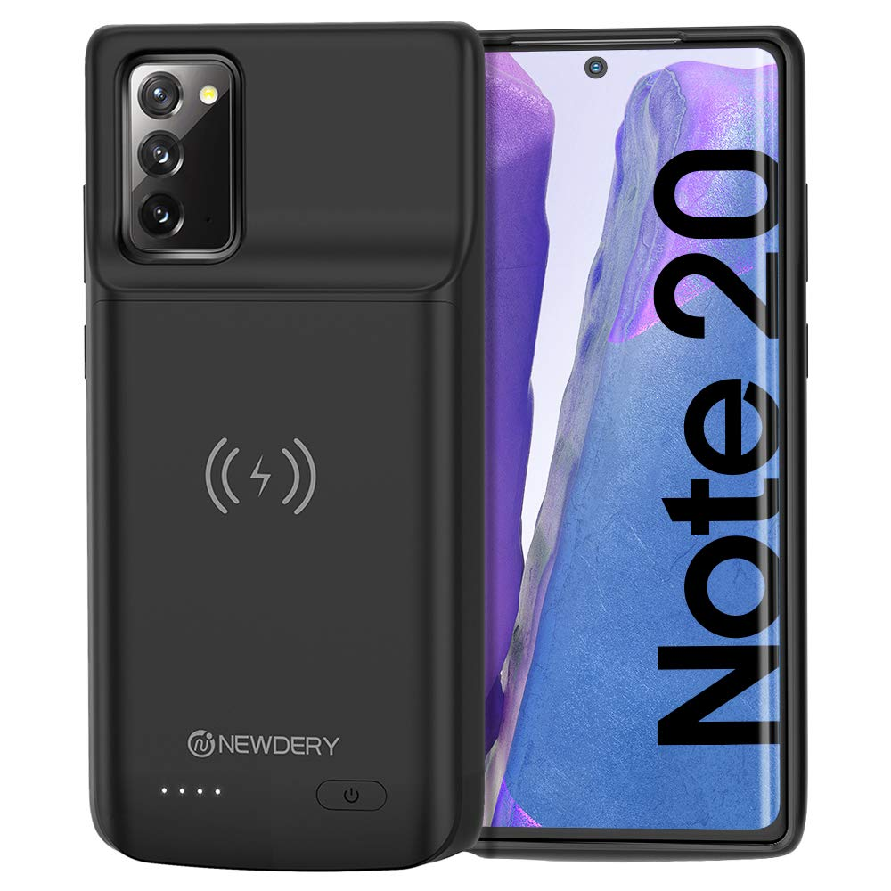 """NEWDERY Galaxy Note 20 Battery Case 6000mAh, Qi Wireless Charging Supported, Rechargeable Power Extended Backup Charger Case for Samsung Galaxy Note 20 (6.7"""" Black)"""