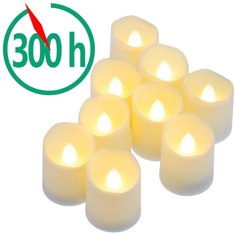 PChero 9パックbattery-powered LEDフレイムレスキャンドル – 300時間の照明、夕食、結婚式、パーティー、の装飾クリスマス、誕生日、 – ウォームホワイト   B01NBN1SJE