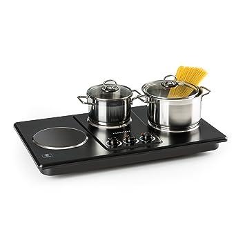 Klarstein Potzblitz Placa de cocina • 3300 W • 3 fogones de cocción • Recipientes de 15 a 18 cm • Regulación continua • Vitrocerámica • Acero inoxidable ...