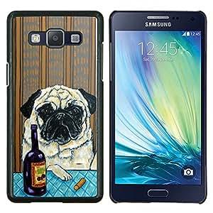 EJOOY---Cubierta de la caja de protección para la piel dura ** Samsung Galaxy A5 A5000 ** --Pug Arte Arrugas Pintura perro Vino