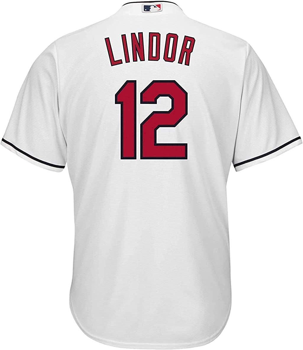 Outerstuff Francisco Lindor Cleveland Indians White Youth Cool Base Home Replica Jersey