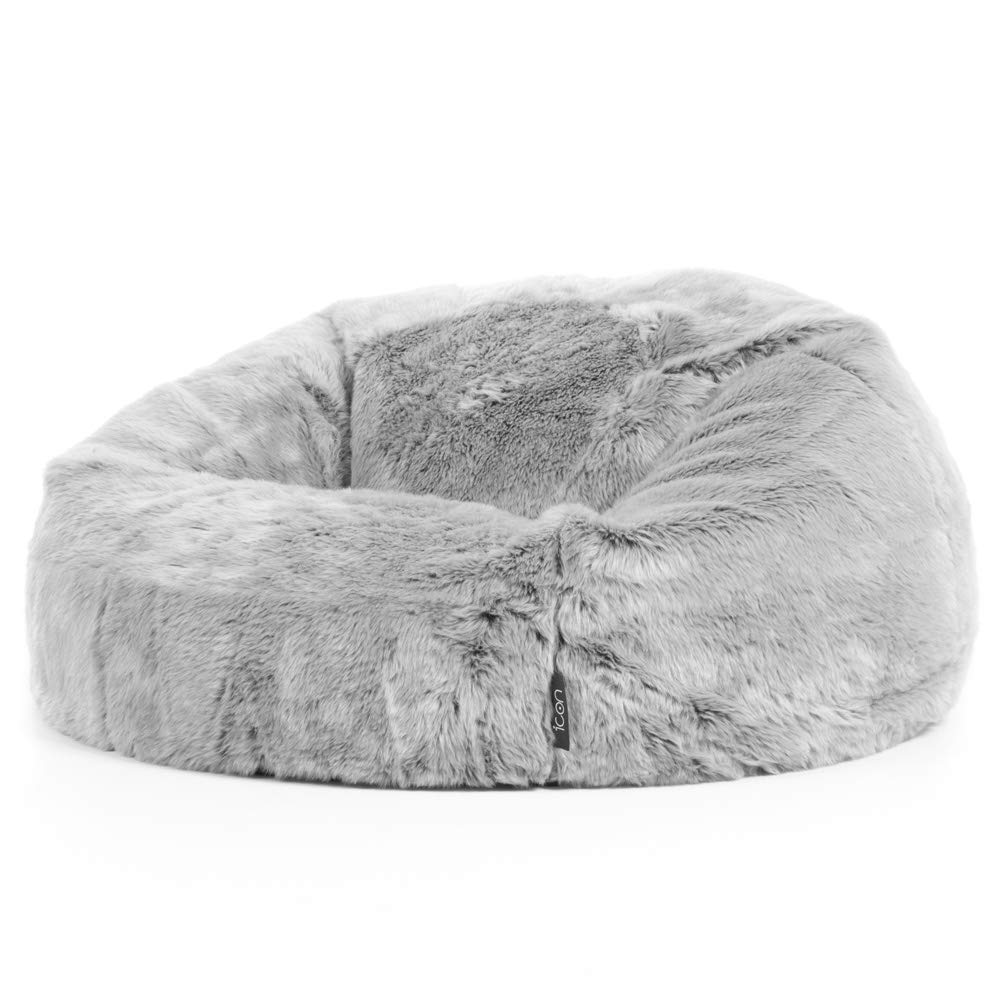 d27d2917c6 icon Faux Fur Bean Bag Chair - Arctic Wolf Grey - Extra Large