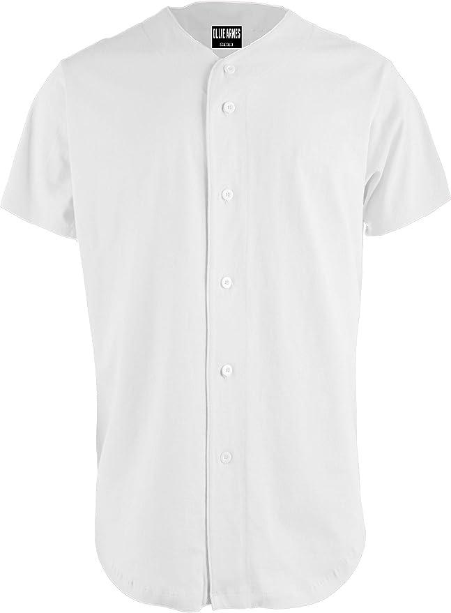 Amazon.com: OLLIE ARNES Baseball Jersey, Hip-Hop Shirt Button Down Team Uniform Men Youth Toddler Sizes Plain_White M: Clothing