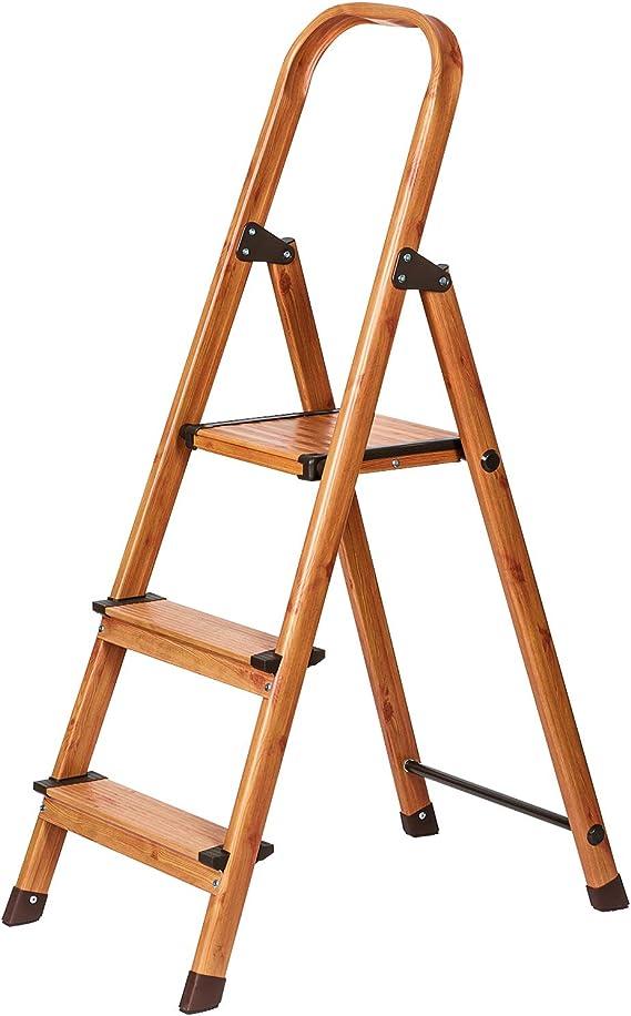 Tatkraft Upgrade 3 Escalera Doméstica de 3 Peldaños Antideslizantes |Taburete Plegable de Cocina de 3 Escalones | Escalerilla de Aluminio Estilo de Madera Escandinava: Amazon.es: Hogar