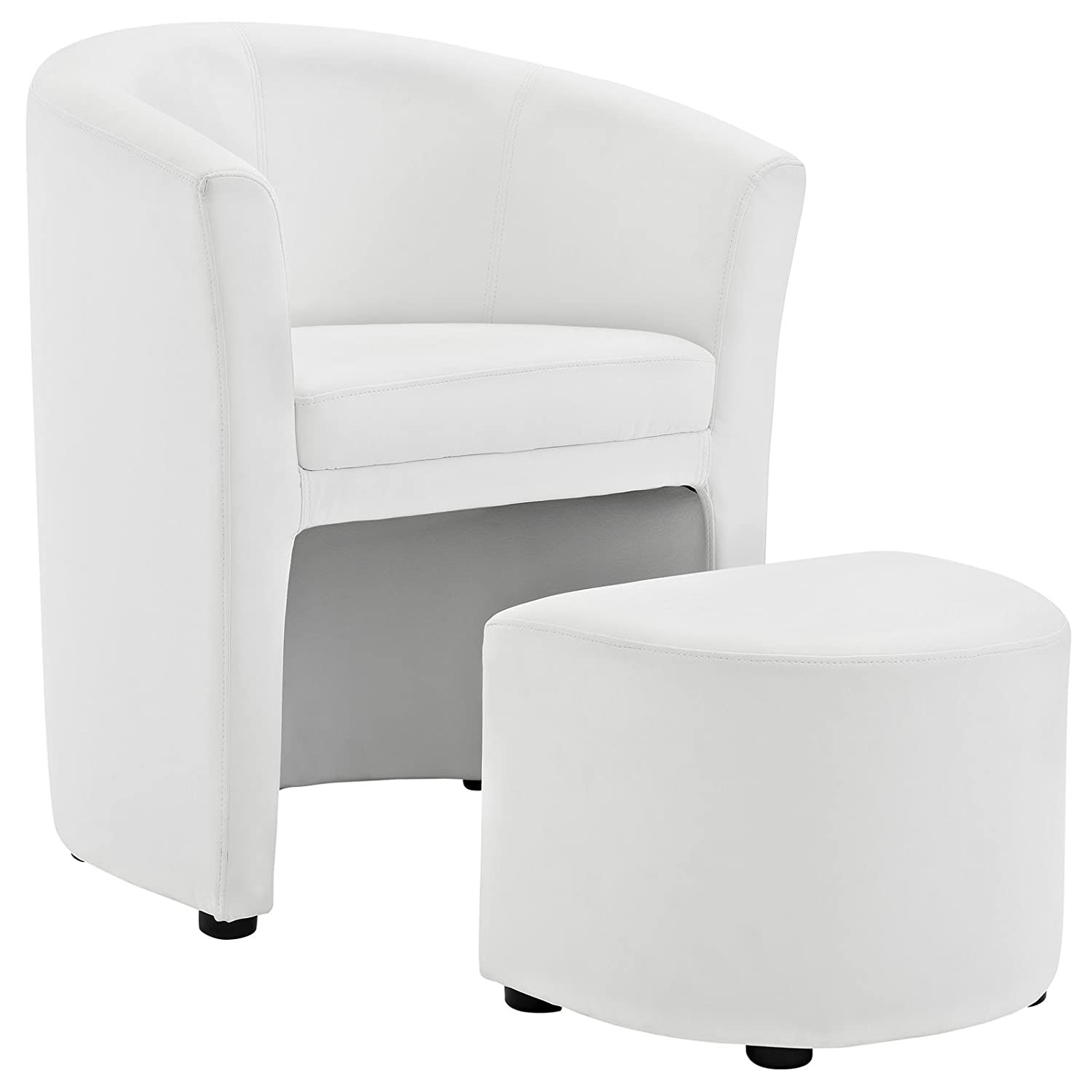 Amazon.com: Modway Divulge Faux Leather Armchair And Ottoman 2 Piece Set In  White: Kitchen U0026 Dining