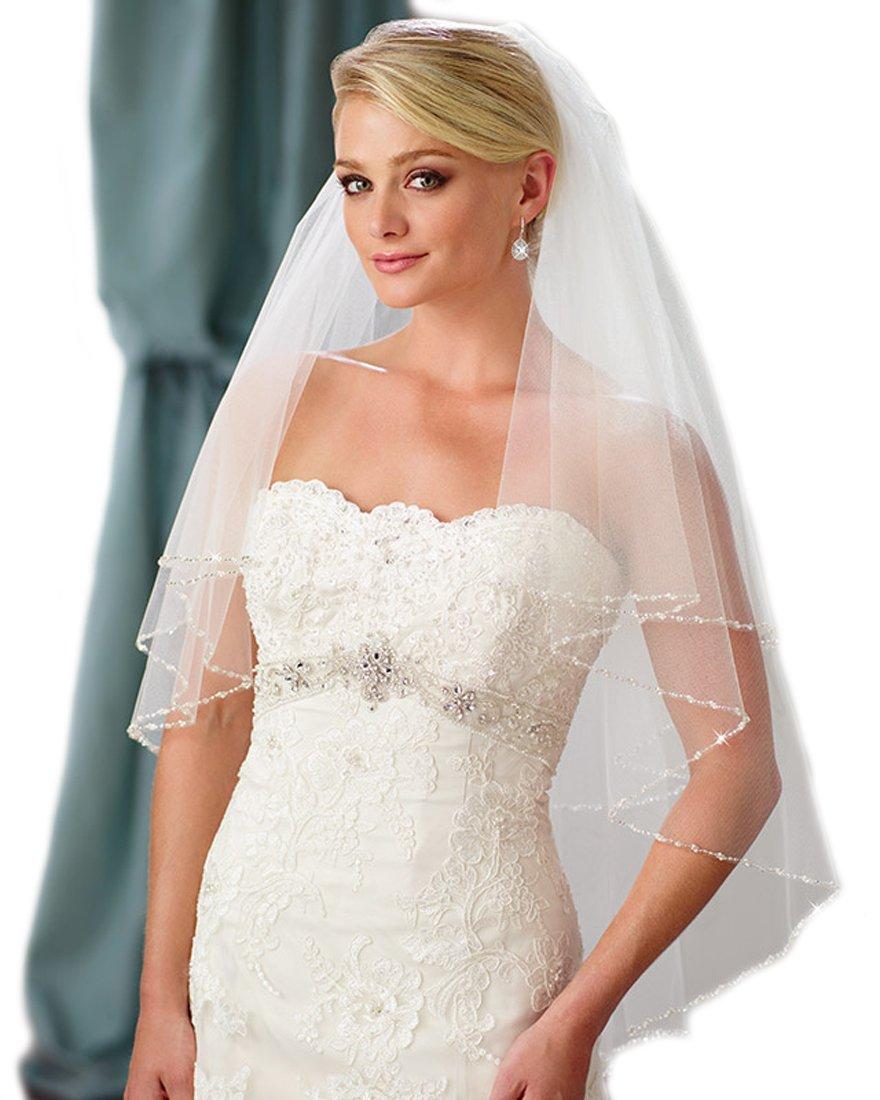 Passat Pale Ivory 2 Tiers 36''Fingertip Length Rhinestone Wedding Veil Bridal Veil with Crystals H14