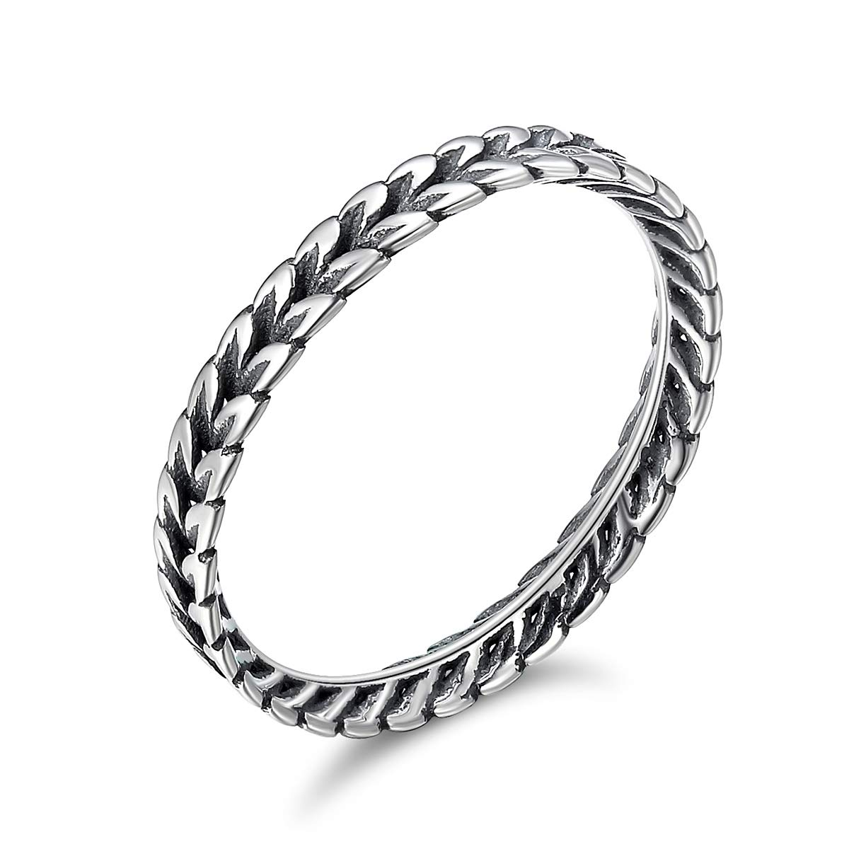 WOSTU Thin Band Eternity Rings 925 Sterling Silver Bali Rings Wedding Engagement Rings for Women
