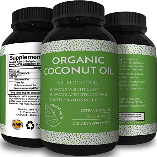 [Pure Extra Virgin Cold Pressed Coconut Oil Pills for Weight Loss - Supplements for Immune System & Metabolism Booster - Natural Appetite Suppressant for Fat Loss Healthy Skin & Hair Care Natural Vore] (Weight Booster)