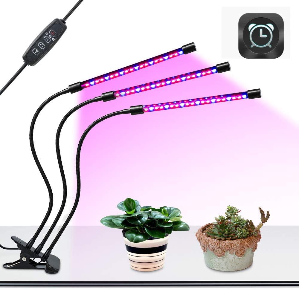 BLOOMWIN USB Lamparas para Plantas luces Planta LED 27W Rojo Azul 360° Giratorio 8 Brillo Adjustable 3 Modos de Luz Temporizador con 3 Cabezales Lampara de Planta Cultivo Crecimiento Vegetal Flores