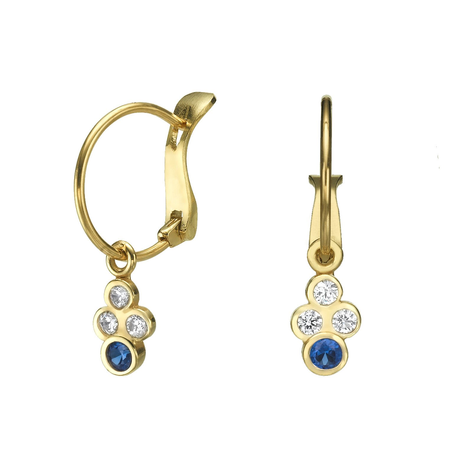 14K Solid Yellow Gold Leverback Earrings Circles Of Liron Teen Girls Kids Children Child Gift Baby