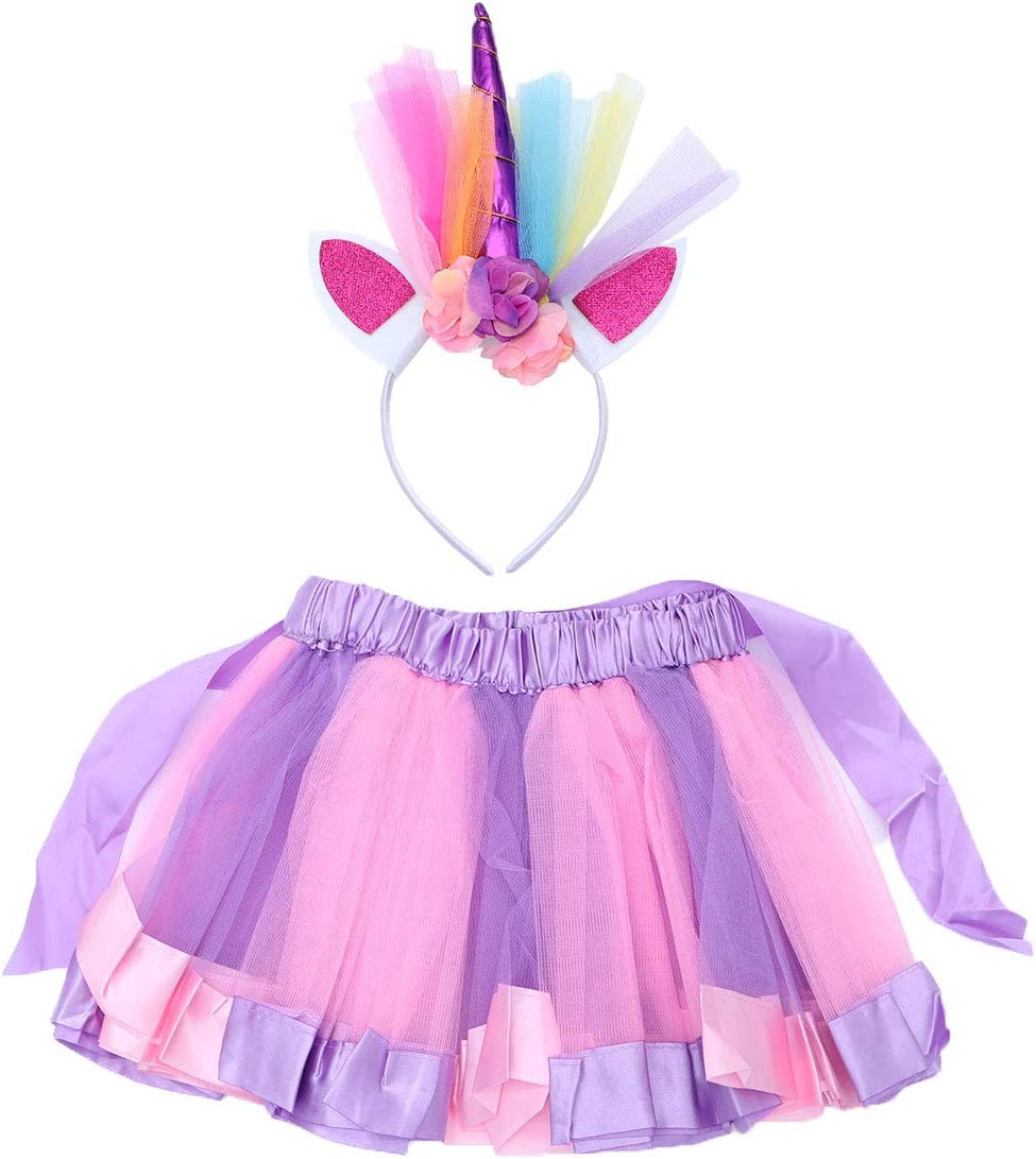 LUOEM Falda de Tutú Púrpura Rosa y Diadema de Unicornio para ...