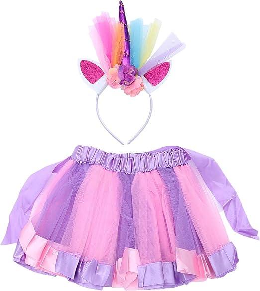 LUOEM Falda de Tutú Rosa Púrpura y Diadema de Unicornio para ...