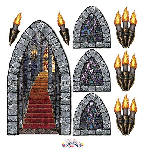 Stairway, Window & Torch Props Party Accessory [9 Units Per Pack] (3 Packs) (Torch Wall)