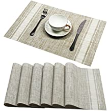 U'Artlines Set of 6 Placemats,Placemats for Dining Table,Heat-resistant Placemats, Stain Resistant Washable PVC Table Mats,Kitchen Table mats (Placemats 6pcs, A White)