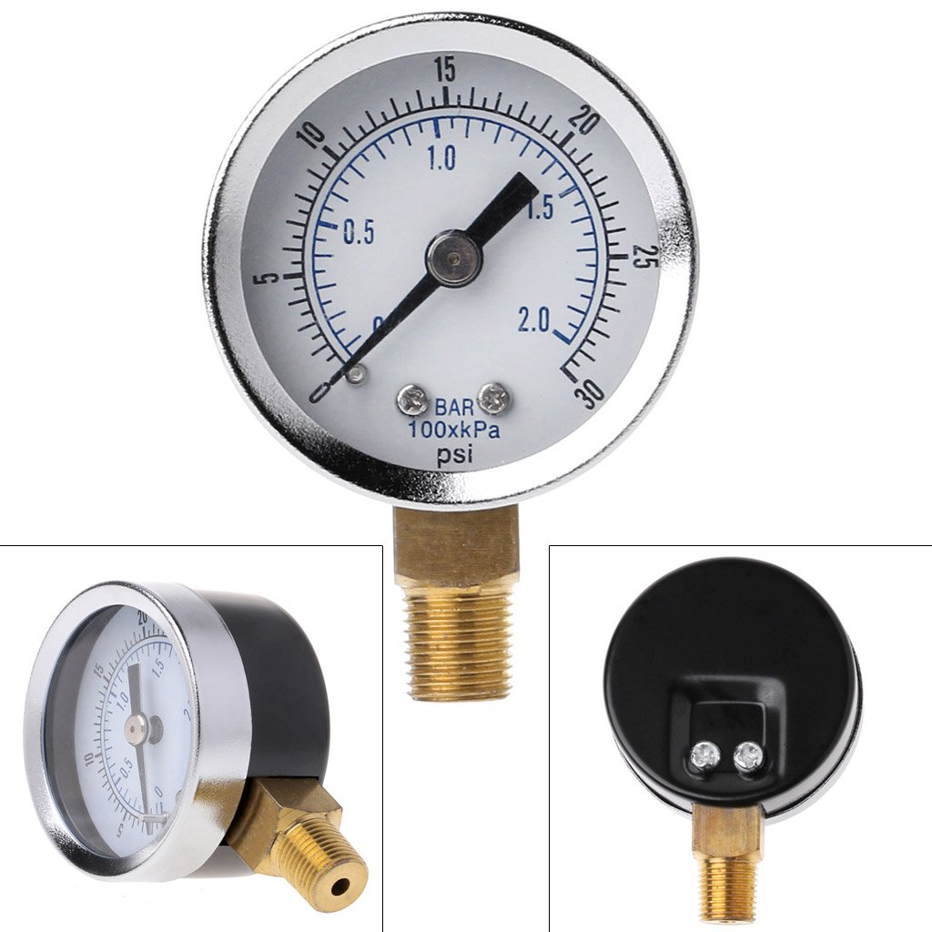 30 PSI Montaje en Suelo chenguId 1//8 NPT Man/ómetro Compresor de Aire presi/ón hidr/áulica 0