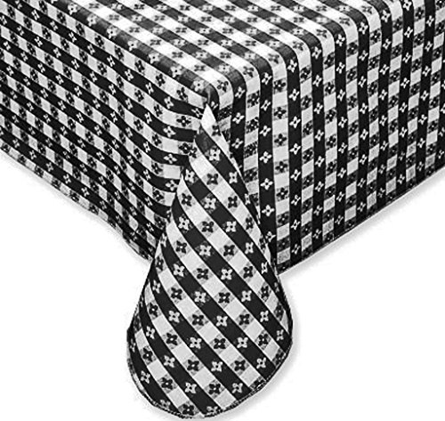 Black Tavern Picnic Check Print Indoor/Outdoor Vinyl Flannel Backed Tablecloth - 52 x 90 Oblong