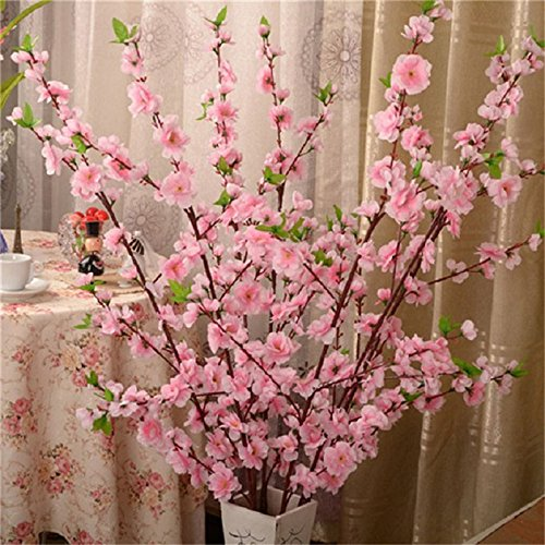 Branch Flower Plum (5Pcs Spring Peach Blossom Cherry Plum Bouquet Branch Silk Flower,Artificial Flowers Fake Flower for Wedding Home Office Party Hotel Yard Decoration)