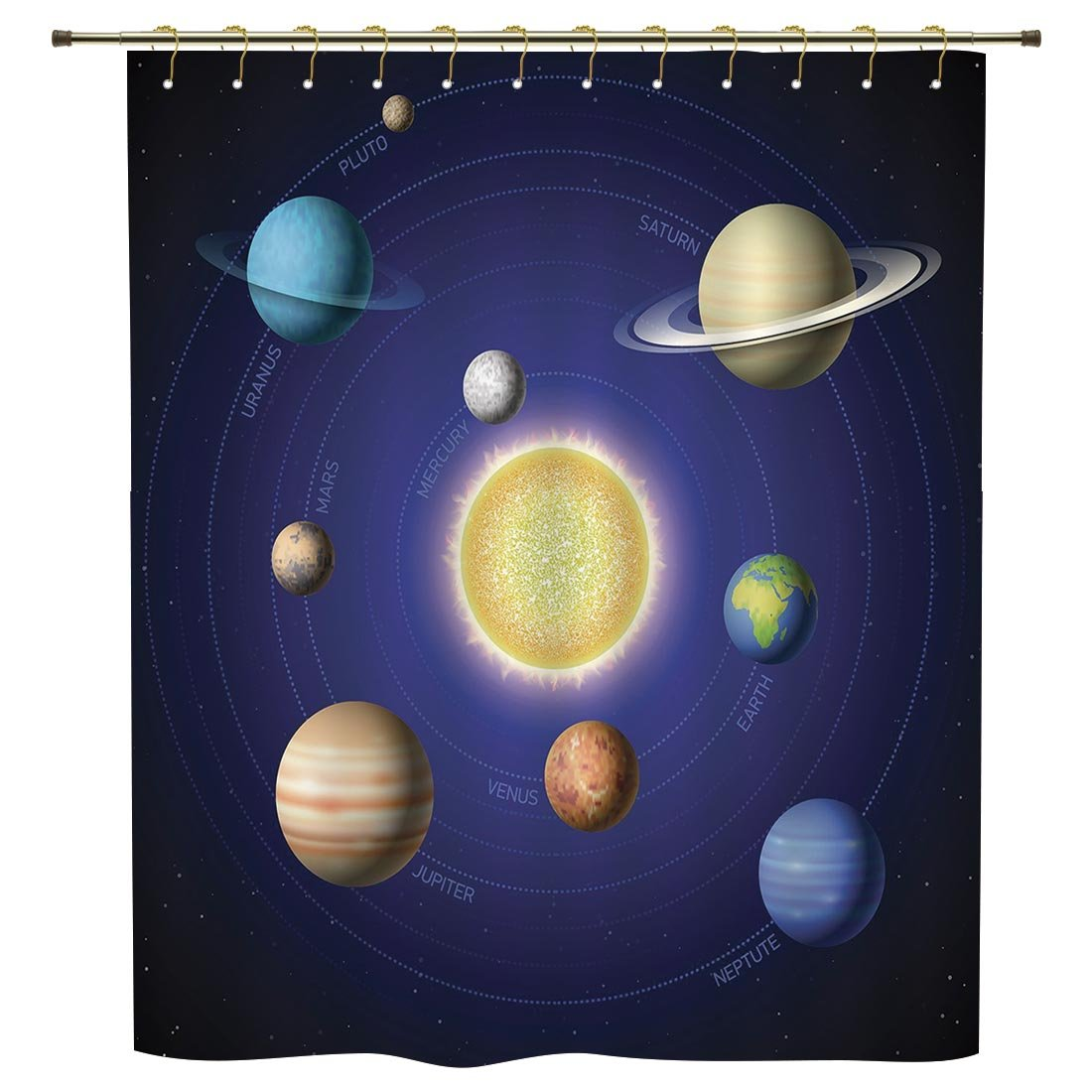 iPrint Shower Curtain,Space,Solar System Illustration Showing Planets around Sun Harmony of Galaxy Science Room Image,Multi,Polyester Shower Curtains Bathroom Decor Sets with Hooks