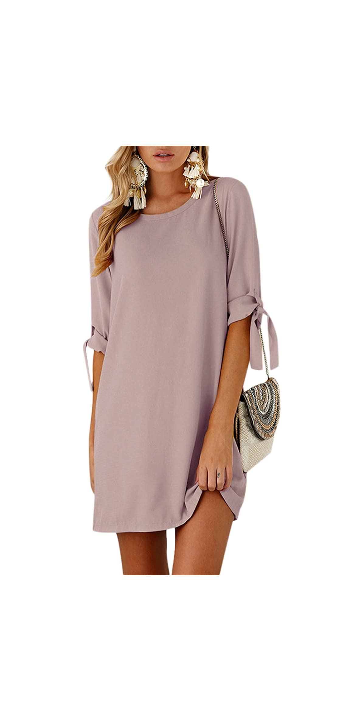 Summer Dresses For Women Half Sleeves T Shirts Solid Crew
