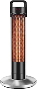 BBOOY Electric Heater, Garden Central Heating 360° Heating for Heating, 2 Gear Options, with Removable Clothes Pins for Home Bedroom Patio Office Desk - Thermostat & Tip-Over Protection,Big,Portable