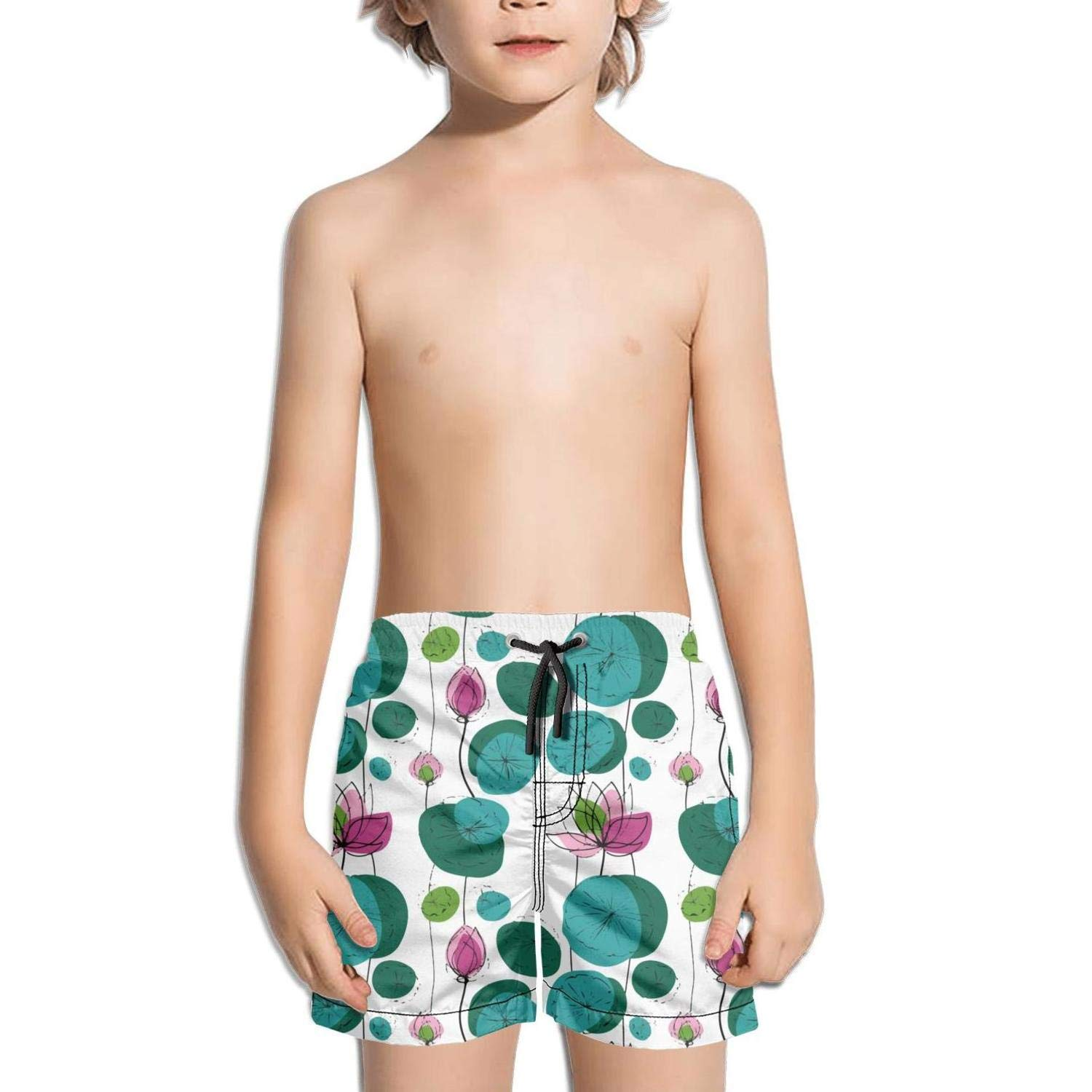Lenard Hughes Boys Quick Dry Beach Shorts with Pockets Chinese Watchcolor Lotus Flower Swim Trunks for Summer