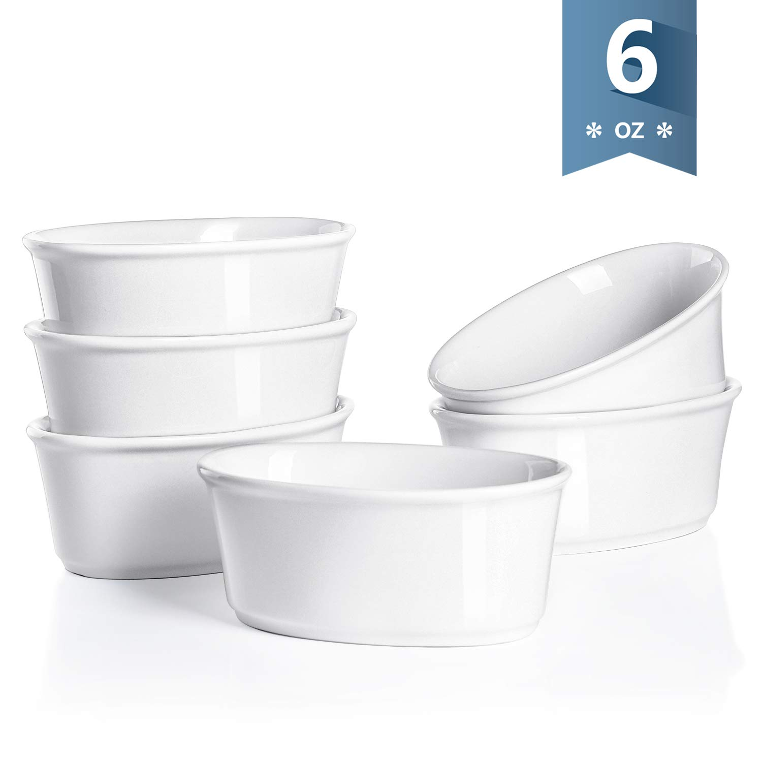 Sweese 506.001 Porcelain Souffle Dishes 6 Ounce, Oval Ramekins for Baking, Set of 6, White