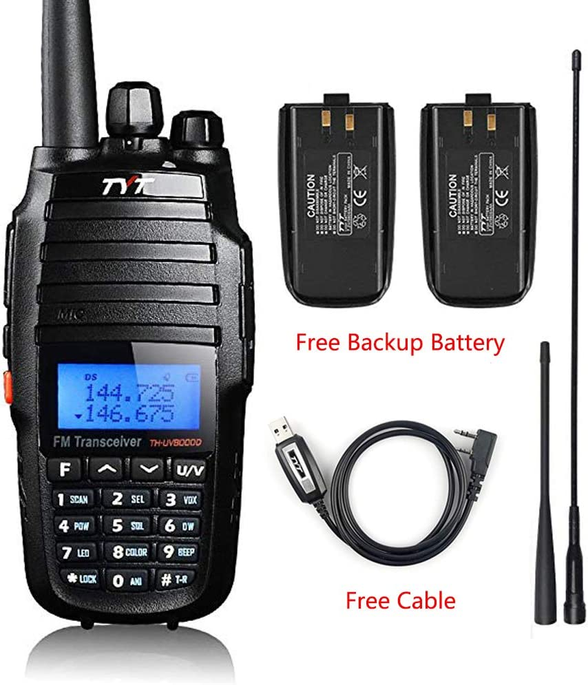 TYT TH-UV8000D High Power 10-Watt Dual Band 2M 70CM Two Way Radio Cross-Band Repeater Amateur Hand held Transceiver HAM, with Free Backup Battery