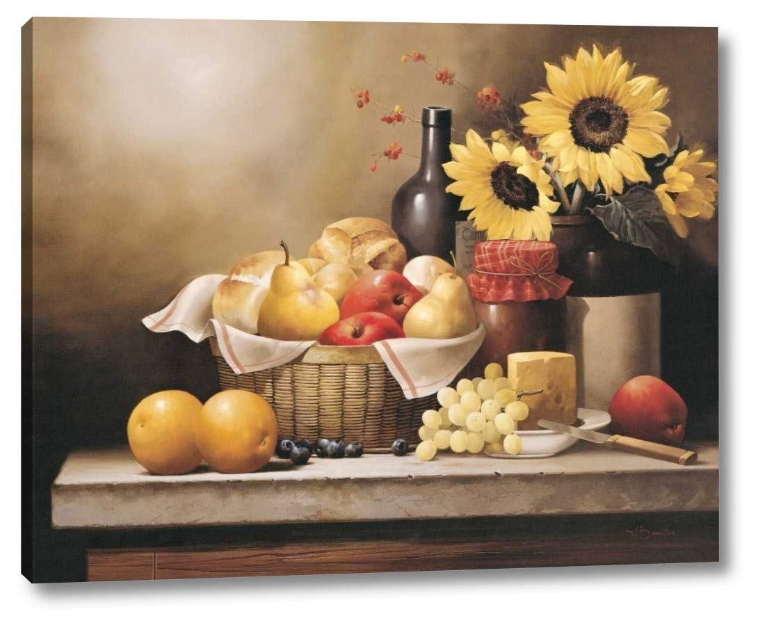 """On The Kitchen Table by Victor Santos - 9"""" x 12"""" Gallery Wrapped Giclee Art Print on Canvas - Ready to Hang"""