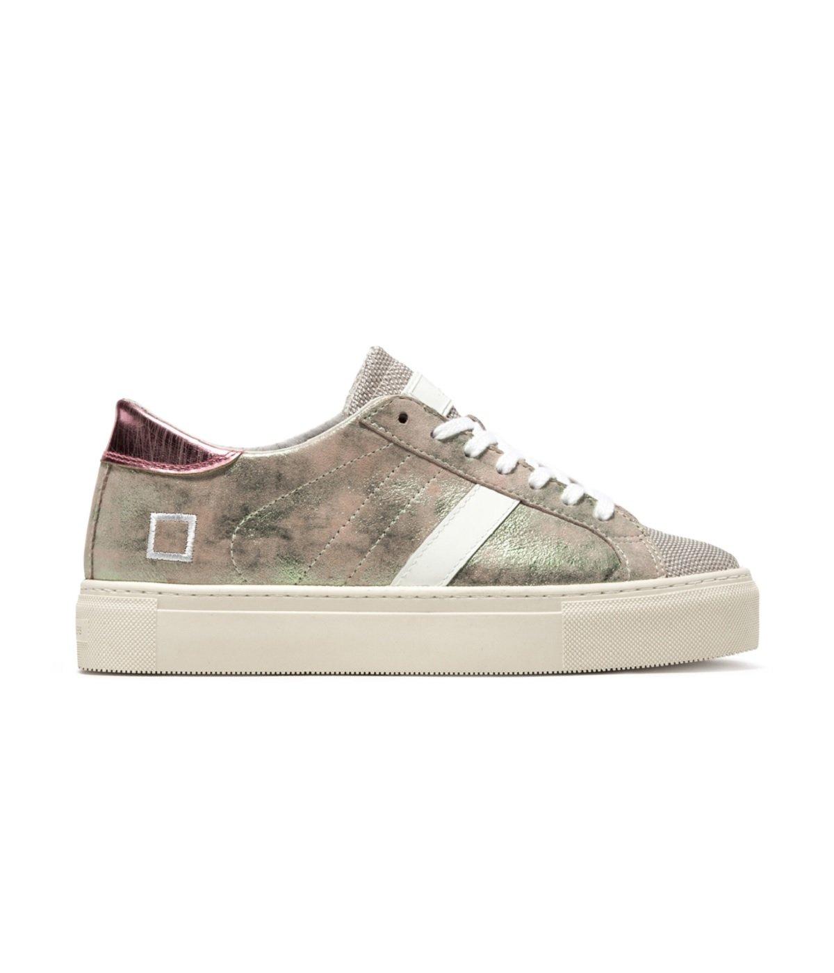 Sneaker D.A.T.E. Vertigo Stardust en Piel laminada Rosa y Verde 37 EU Rosa