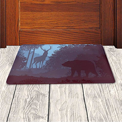 Memory Foam Bath Mat,Cabin Decor,Grizzly Bear and Antler Mysterious Woods Smoky Jungle Fauna LandscapePlush Wanderlust Bathroom Decor Mat Rug Carpet with Anti-Slip Backing,Sky Blue Dried Rose by iPrint (Image #3)