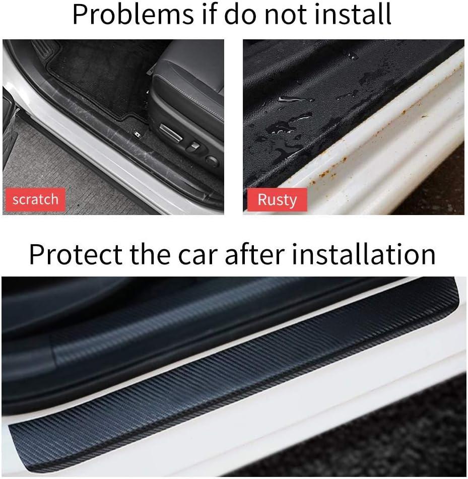 for Suzuki Swift Kizashi S-Cross Nueva Vitara Ciaz Door Sill Protector Carbon Fiber Scuff Plate Covers Entry Threshold Stickers Black 4Pcs Car Kick Plate Guard