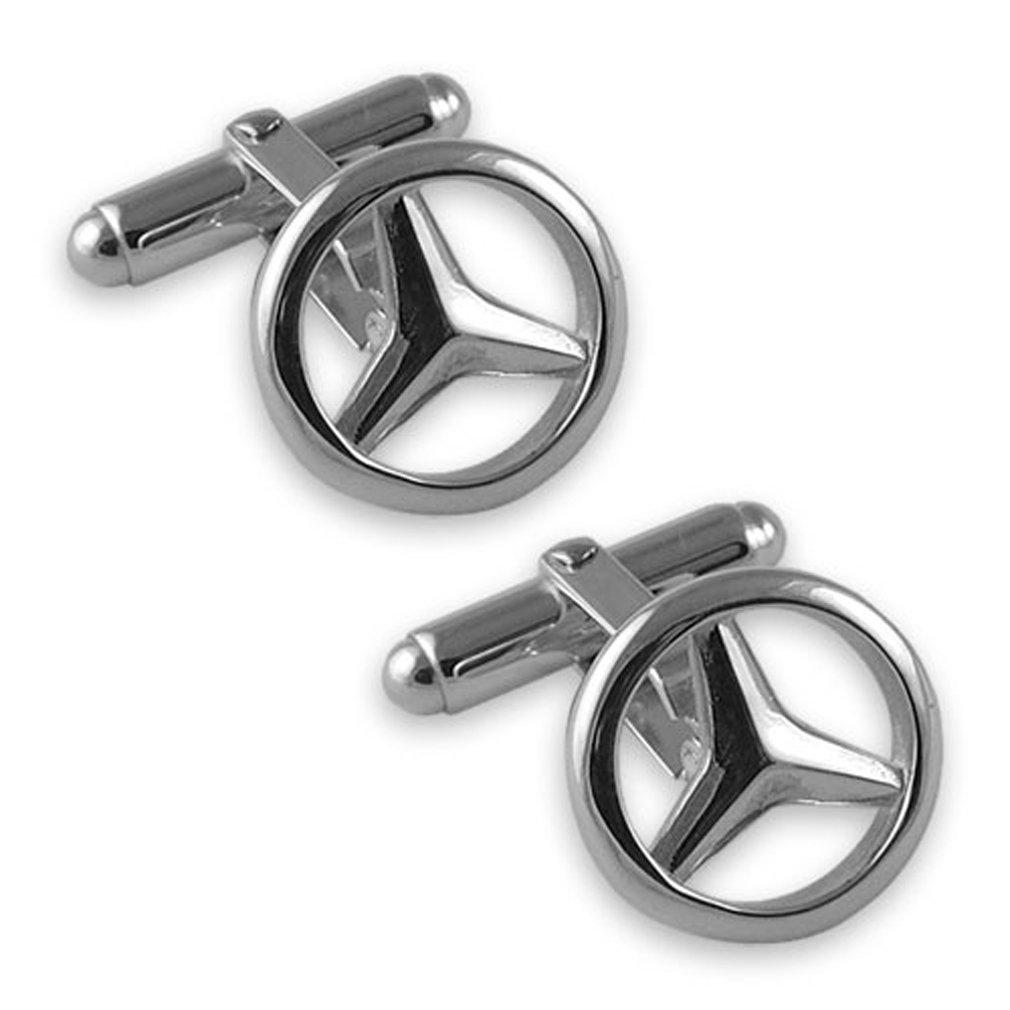 Sterling silver Mercedes Cufflinks Tie Clip Box Set