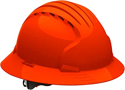 Evolution Deluxe 6161 280-EV6161-10 Full Brim Hard Hat with HDPE Shell, 6-Point Polyester Suspension and Wheel Ratchet Adjustment (VENTED, Bright Orange)
