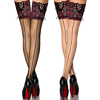 0027620b758a0 Cuban Heel Back Seam Thigh High Stockings with Wide Floral Lace Top  Silicone Hold Up