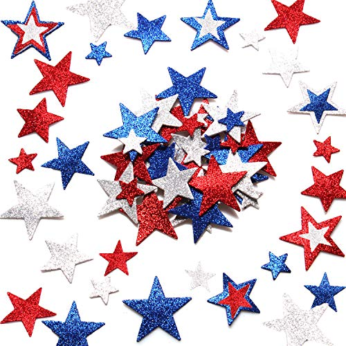 - Mayam 360 Pieces Patriotic Star Stickers July 4th Foam Stickers Red, White, and Blue Glitter Star Foam Stickers Self Adhesive for July 4th Independence Day Decoration Craft