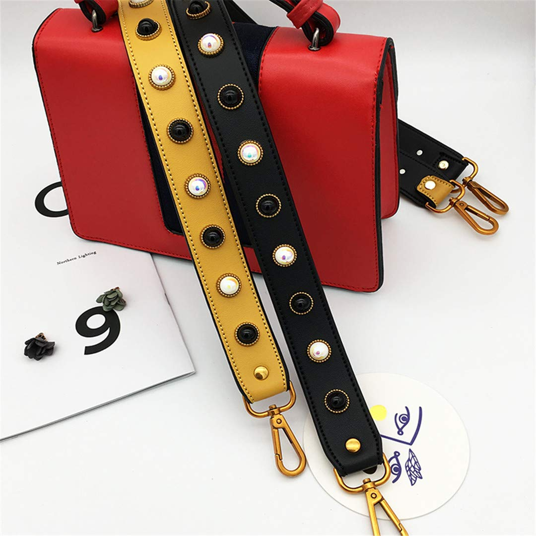 Replacement Wide Crossbody Bag Straps For Bag Parts Accessories Women Pearl Shoulder Bags Straps You For Handbag Hand Long Belt black gold buckle