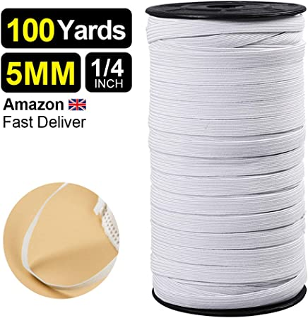 100yard Elastic Cord Ear Rope Elastic Bands Cord White Earloop Cord for Cover Braided Crafts Elastic Rope for Knit Sewing Crafts DIY Handmade Elastic Line