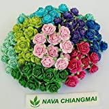 NAVA CHIANGMAI Mini Rose Flowers Mulberry Paper Blue Purple Green Tone 10 mm 100 Mixed