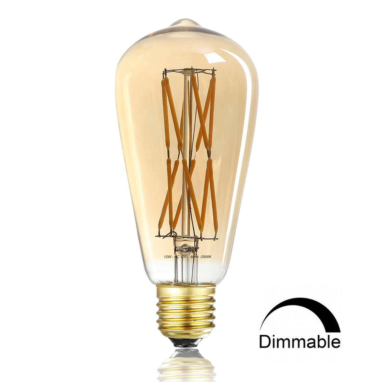 Leools 12W Dimmable Vintage Edison LED Light Bulb,100W Equivalent,ST64 Filament Bulbs, 2500K Warm White(Amber Gold Glass), Antique Shape, Squarrel Cage Filament Vintage Light Bulb, 1-Pack.