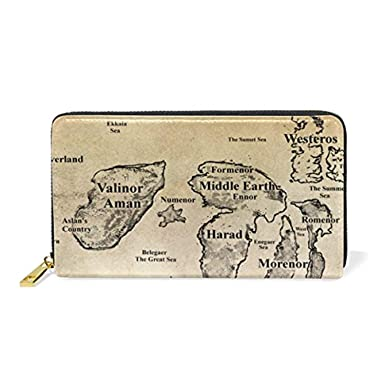 Fantasy Life World Map.Amazon Com Fantasy World Map Leather Clutch Purse Long Wallet Card