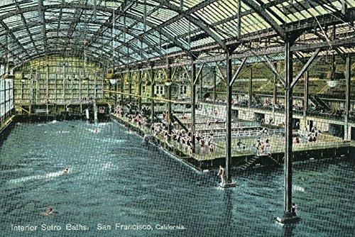 (San Francisco, California - Interior View of the Indoor Sutro Baths - Vintage Halftone (9x12 Art Print, Wall Decor Travel Poster))