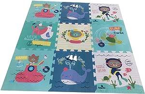 Babify Alfombra Puzzle para bebés Toy Planet - Espesor 2 cm, Antideslizante, Extragrande, Reversible, Impermeable, portátil, de Doble Cara, para niños pequeños y bebés (165x165x2cm)