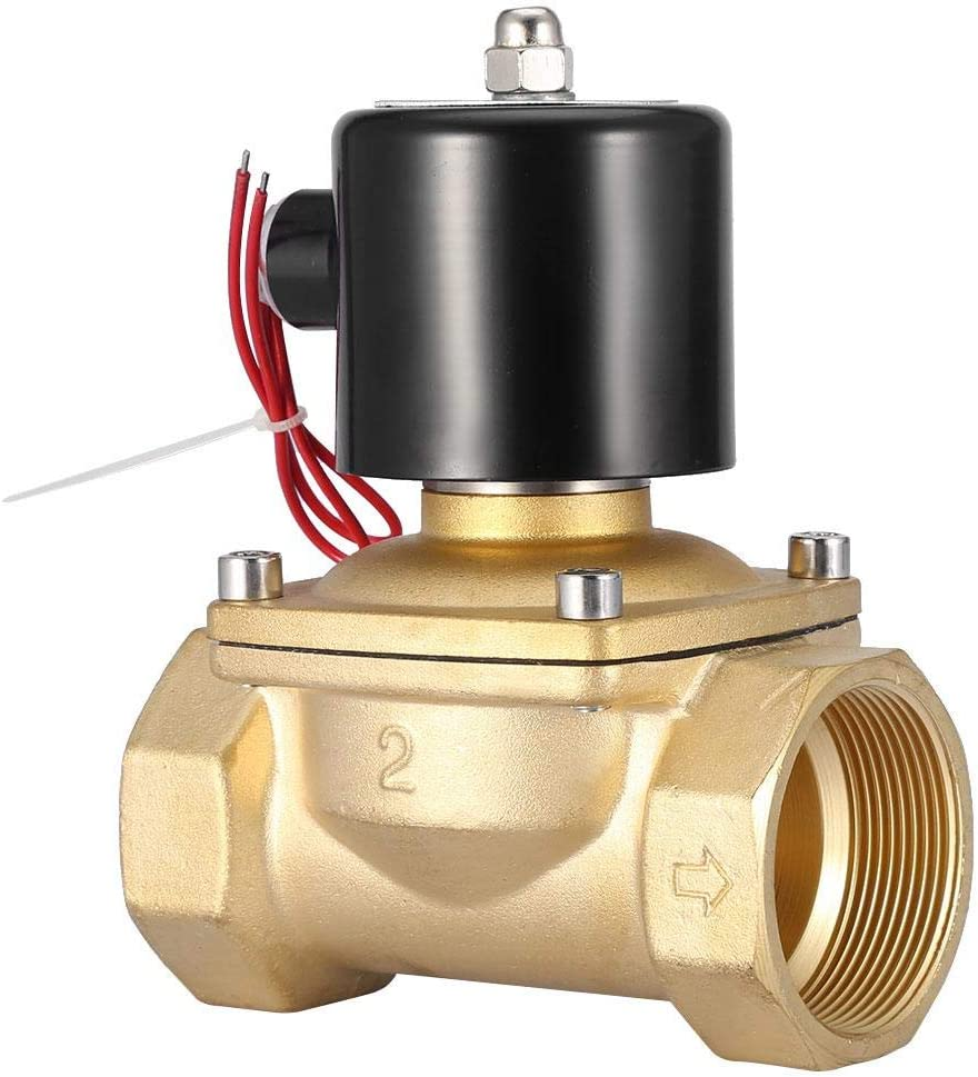 220V AC DN50 2 Two Way Normally Closed Electric Solenoid Valve Durable Brass Body Pipelines Replacement Tools 1pc NC Solenoid Valve