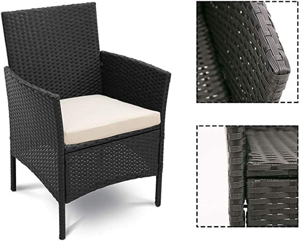 Brown,Marr/ón Hmcozy Mimbre Muebles de jard/ín Conjunto de 3 Piezas de Patio al Aire Libre Patio de rat/án Sistema Incluye Coj/ín Un Vector de Cristal Negro