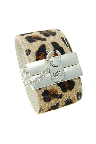Pulsera de Cuero y Plata estampado Leopardo Cebra y Jirafa