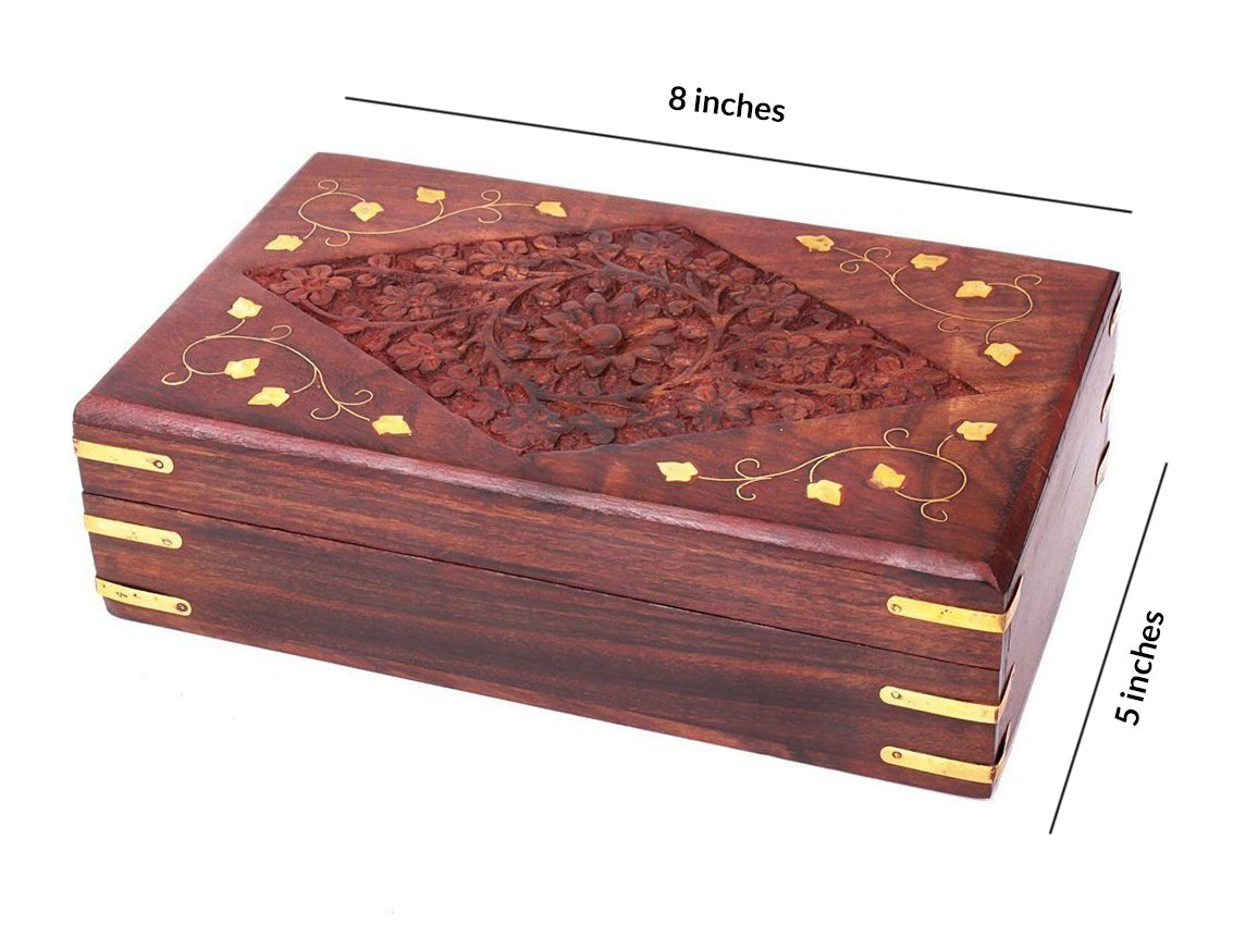 Handcrafted Decorative Wooden Jewelry Trinket Box Organizer with Floral Carvings and Brass Inlay by Store Indya (Image #3)