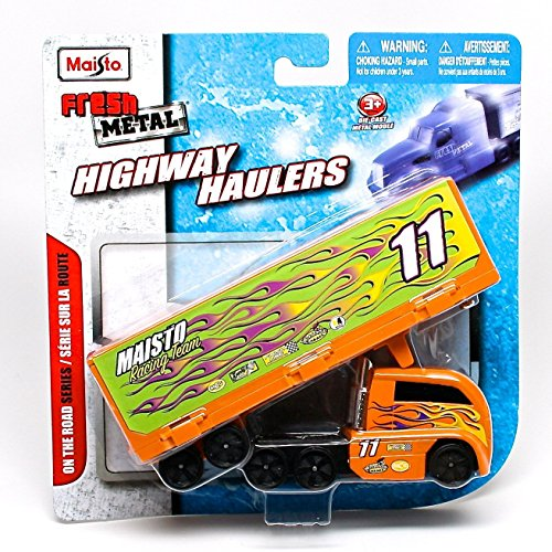 Maisto Racing Team 11 (Orange) Auto Transport * On the Road Series * Maisto Highway Haulers 2010 Fresh Metal Die-Cast Tractor Trailer / Semi Truck Vehicle - Set Highway Transport